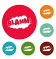 comic boom blamm icons circle set vector image vector image