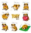 cute cartoon dog toset 2 vector image vector image