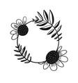 cute doodle black outline floral frame vector image vector image