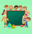 cute kids with school board and books blank banner vector image vector image