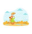 cute squirrel walking with umbrella under rain vector image vector image