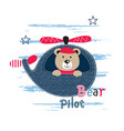 cute with pilot bear vector image vector image
