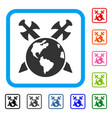 earth swords framed icon vector image vector image