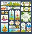 easter tag set with egg hunt rabbit and flowers vector image vector image