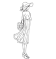 Elegant slender girl in hat and dress vector image vector image