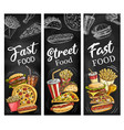 fast food burgers hot dogs soda drink and pizza vector image vector image