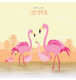 flamingo pink animal bird cartoon vector image vector image
