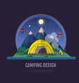 flat style design mountains landscape and camping vector image vector image