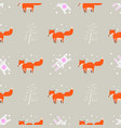 fun print cute seamless pattern with little foxes vector image