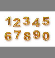 gold foil balloon number isolated background set vector image