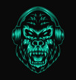 gorilla headphone green vector image