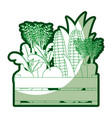 green silhouette of wooden box with vegetables vector image