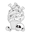 halloween cake doodle coloring book page vector image vector image