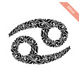 hand drawn black ornate horoscope symbol - cancer vector image