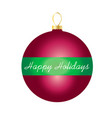 happy holidays on striped ornament vector image vector image