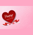 happy valentine calligraphy in red heart box with vector image