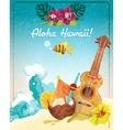 Hawaii guitar vacation poster vector image vector image