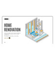 home renovation repair service isometric landing vector image vector image