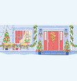 house exterior christmas decorations flat vector image vector image