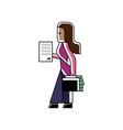 indian woman with contract and suitcase vector image