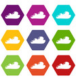 internet cloud icons set 9 vector image