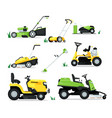 lawn mover machine with engine and mechanical vector image