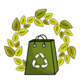 leaves and bag with recycling symbol inside vector image vector image