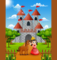 little princess and horse standing in front of the vector image