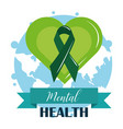 mental health day ribbon in green heart world vector image vector image