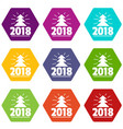 minimal christmas tree icons set 9 vector image