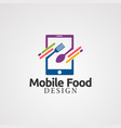 mobile food with spoon and fork digital concept vector image