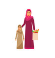 muslim family shopping on supermarket sale vector image