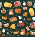 organic farming and agribusiness seamless pattern vector image