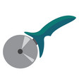 pizza cutter with a silver wheel and a vector image vector image
