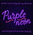 purple neon script uppercase and lowercase vector image vector image