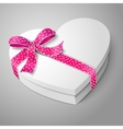 realistic blank white heart shape box For your vector image vector image