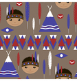 Seamless kids cute American indian pattern vector image vector image
