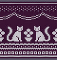 seamless knitted pattern with cats vector image vector image