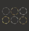 set golden and silver hand drawn round vector image vector image