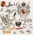 set heraldic design elements with shield vector image vector image