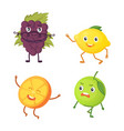 set of cute cartoon fruit vector image vector image