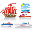 set of icons marine transport vector image