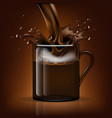 splash coffee in a glass mug vector image vector image