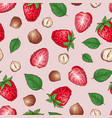 strawberry nuts seamless pattern vector image