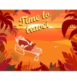 Sunset on a tropical beach summer santa claus vector image vector image