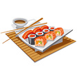 sushi with soy sauce vector image
