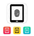 Tablet fingerprint icon vector image vector image