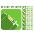 Vaccination Icon and Medical Longshadow Icon Set vector image