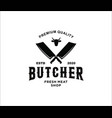 vintage butcher shop logo with meat knives and vector image vector image