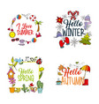weather season winter summer autumn spring vector image
